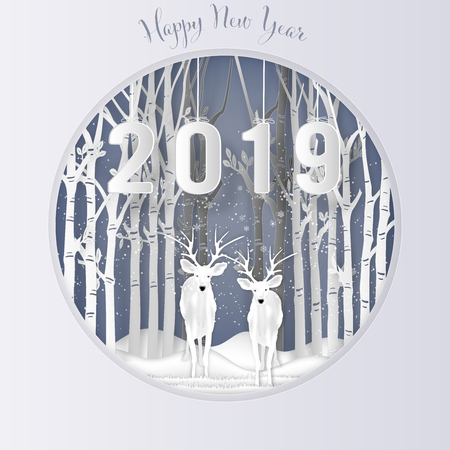Paper art , cut and digital craft style of Deer in ther forest with snow and snowflakes as Merry Christmas day and Happy New Year 2019 concept. vector illustration Stok Fotoğraf - 127272862