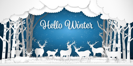 Paper art , cut and digital craft style of Reindeers or deers in forest in the snow wintry season with trees as Merry Christmas and Hello Winter concept. vector illustration Banco de Imagens - 127272864