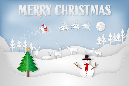 Paper art , cut and digital craft style of Santa Claus on Sleigh, Reindeer and snowman in the winter season  and snow on sky as Merry Christmas and Happy New Year 2019 concept. vector illustration