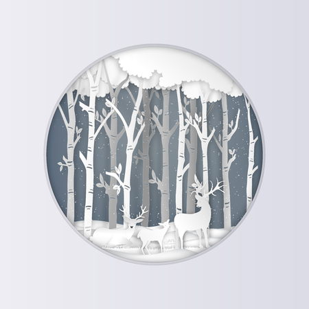 Paper art , cut and digital craft style of Deers in ther forest with snow as Hello Winter , Merry Christmas day and Happy New Year concept. vector illustration