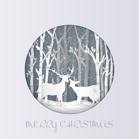 Paper art , cut and digital craft style of Deers in the forest with snow as Hello Winter , Merry Christmas day and Happy New Year concept. vector illustration Banco de Imagens - 127272866