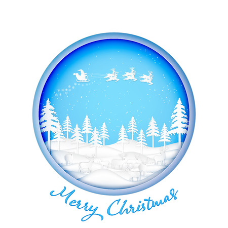 Paper art , cut and digital craft style of Santa Claus on Sleigh, Reindeer and deers in the winter season  and snow on sky as Merry Christmas and Happy New Year 2019 concept. vector illustration