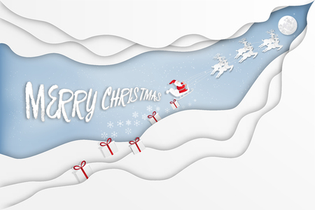 Paper art , cut and digital craft style of Santa Claus on Sleigh, Reindeer  in the winter season  and snow on blue sky as Merry Christmas and Happy New Year 2019 concept. vector illustration Çizim