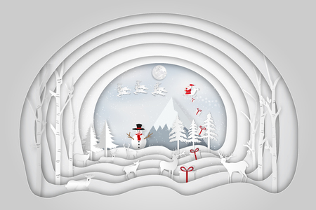Paper art , cut and digital craft layer style of Santa Claus on Sleigh and Reindeer in the snow village and snowman in the winter background as holiday and merry christmas or xmas day concept. vector illustration.