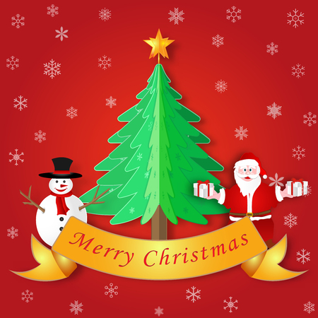 Paper cut and art  of Santa Claus with gift box and snowman on xmas tree as Merry Christmas , happy new year and Holiday greeting card concept. vector illustration.
