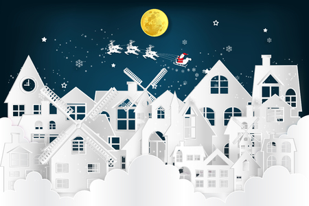 Paper art , cut and digital craft style of Santa Claus on Sleigh and Reindeer over the snow city clouds and merry christmas in the winter background as holiday and xmas concept. vector illustration. Ilustração