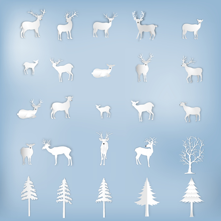 Deers , reindeers and tree christmas set isolated on blue background as montage , compose xmas festival and happy new year concept. vector illustration