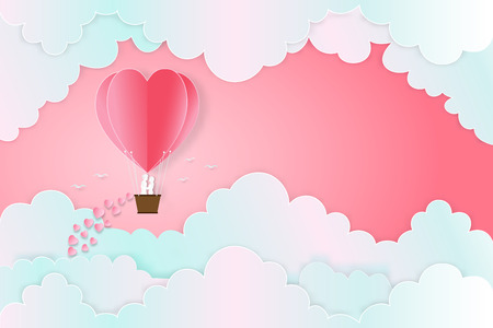 The lover in hot air balloons on the pastel sky background as love , wedding, valentine, design paper art and craft style concept. vector illustration Stok Fotoğraf - 118399225