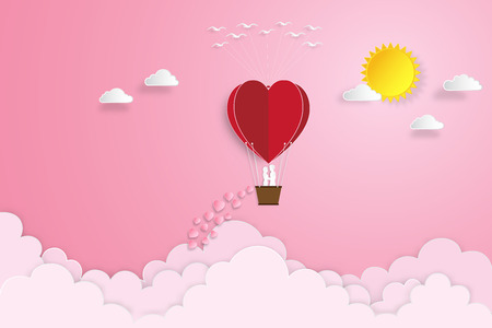 The lover in hot air balloons on pink sky and sunrise background as love , wedding, valentine, design paper art and craft style concept. vector illustration