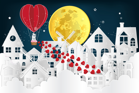 The lover in hot air balloons on night village in the clound and dark blue background as love , wedding, valentine, design paper art , cut and craft style concept. vector illustration