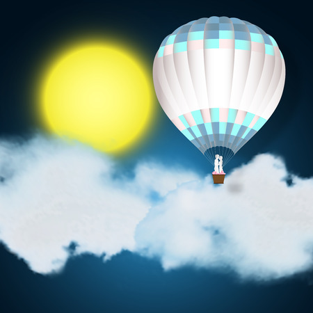 Paper art  and digital craft style of the lover in hot air balloons on night blue sky , clounds and full moon background as love , wedding and valentine day concept. vector illustration