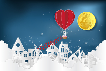 Paper art , cut and digital craft style of  the lover in hot air balloons on night village in the clouds and dark blue background as love , wedding and valentine design concept. vector illustration