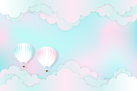 Hot air balloons on the pastel sky background as design paper art and craft style concept. vector illustration Stok Fotoğraf - 127272874