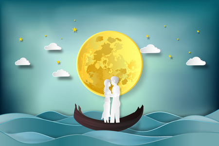 Paper art , cut and digital craft style of the lover in the boat on sea and full moon as romantic , married and honeymoon concept. vector illustration