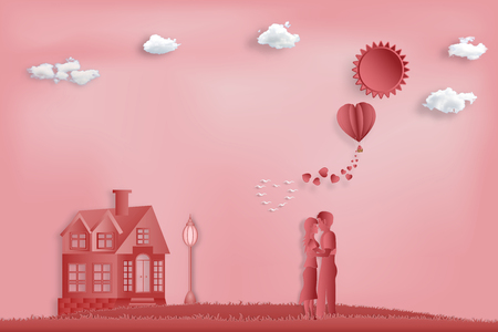 Paper art , cut and digital craft style of the lover with heart hot air balloon and sunny on pink sky background as romantic , married and honeymoon concept. vector illustration Stok Fotoğraf - 127272878