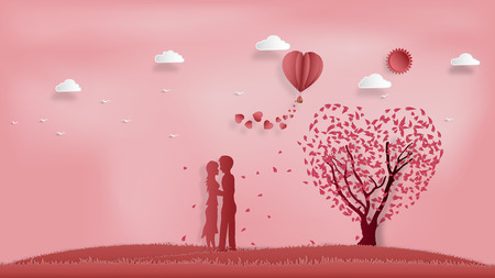 Paper art , cut and digital craft style of the lover with heart hot air balloon and sunny on pink sky background as romantic , married and honeymoon concept. vector illustration Stok Fotoğraf - 127272879