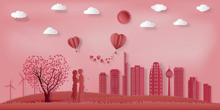 Paper art , cut and Carving design of Lover in the pink park with hot air balloon in sky as romantic , lovely  and craft style concept. vector illustration. Çizim