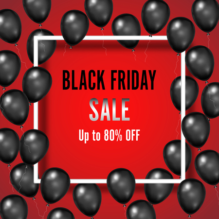 Black Friday with shiny Balloons on red square frame background as business , discount , promotion and Sale Poster concept. Vector illustration.