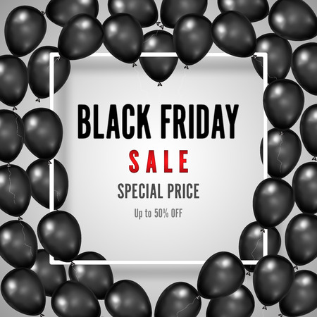 Black Friday with heart shiny Balloons on white square frame background as business , discount , promotion and Sale Poster concept. Vector illustration.
