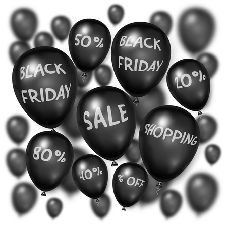 Black Friday with shiny Balloons on white square background as business , discount , promotion and Sale Poster concept. Vector illustration. Ilustração