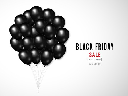 Black Friday with shiny Balloons on white square background as business , discount , promotion and Sale Poster concept. Vector illustration. Stok Fotoğraf - 127272884