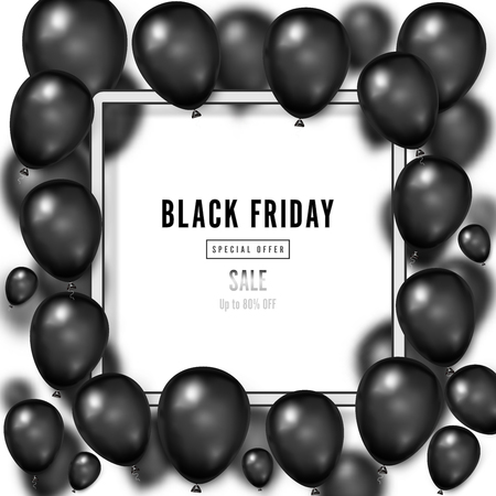 Black Friday with shiny Balloons on white square frame background as business , discount , promotion and Sale Poster concept. Vector illustration.
