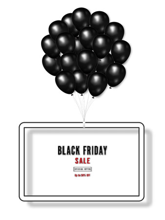 Black Friday with shiny Balloons on white square frame background as business , discount , promotion and Sale Poster concept. Vector illustration. Banco de Imagens - 127272886