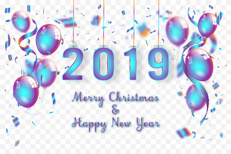 Confetti and Titanium rainbow ribbons celebration Merry Christmas and Happy New Year 2019 on transparent background as template concept. vector illustration Banco de Imagens - 127272891