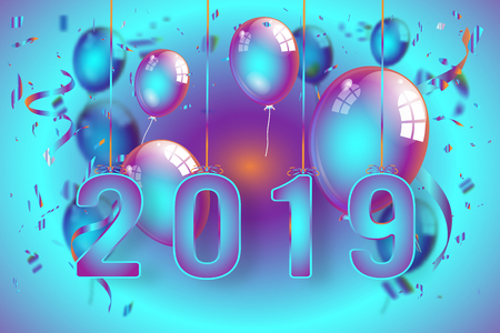 Confetti and Titanium rainbow ribbons celebration Happy New Year 2019 on colorful background as template concept. vector illustration Stok Fotoğraf - 127272892