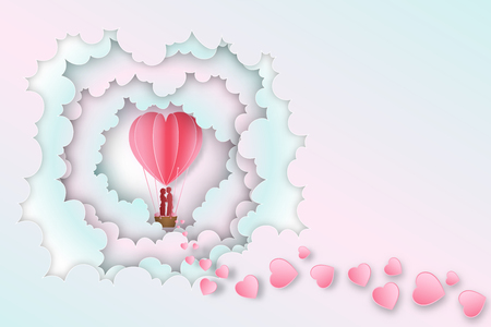 Paper art , cut and digital craft style of Lover in the hot air heart balloon on pink pastel clouds layer background as love ,  wedding and happy valentines day concept. vector illustration. Çizim