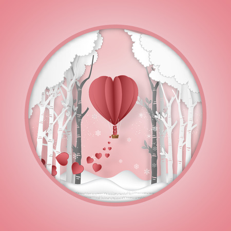 Paper art , cut and Carving design of lover in hot air balloon in forest background as romantic , lovely  and craft style concept. vector illustration. Çizim