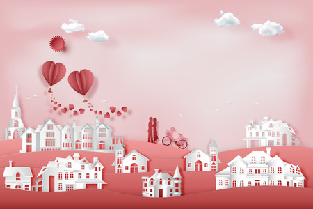 Paper art , cut and craft style design of the Lover in pink village with hot air balloon in sky as valentine, romantic and lovely concept. vector illustration. Çizim