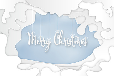 Paper art and cut style of Merry Christmas with White carve template on blue sky background as festival , invitation and holiday template concept design. Vector illustration. Stok Fotoğraf - 126623265