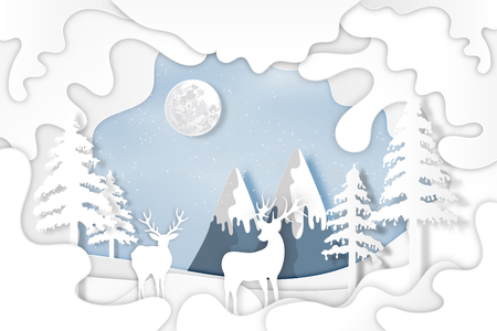 Paper art , cut and digital craft layer style of snow village and deers in winter background as holiday and merry christmas or x'mas concept. vector illustration.
