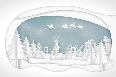 Paper art , cut and craft style of Santa Claus on Sleigh and Reindeer in snow village and deers in winter background as Merry Christmas or x'mas and Happy New Year concept. vector illustration. Stok Fotoğraf - 126623269