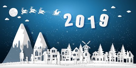Paper art , cut and digital craft style of Santa Claus on Sleigh and Reindeer , People celebrate merry christmas in the winter background as x'mas and Happy New Year concept. vector illustration.