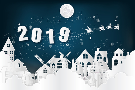 Paper art , cut and digital craft style of Santa Claus on Sleigh and Reindeer over snow city clouds and merry christmas in winter background as holiday and x'mas day concept. vector illustration.