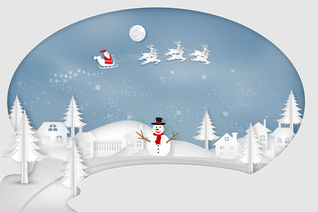 Paper art, cut and digital craft style of Santa Claus on Sleigh and Reindeer with snowman in the merry christmas night and  happy new year 2019 as holiday and x'mas day concept. vector illustration. Banque d'images - 118398822