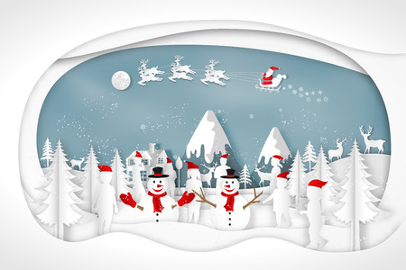 Paper art, cut and digital craft style of anta Claus on Sleigh and Reindeer with Children party and enjoy in the merry christmas night as x'mas and happy new year concept. vector illustration. Stok Fotoğraf - 126623274