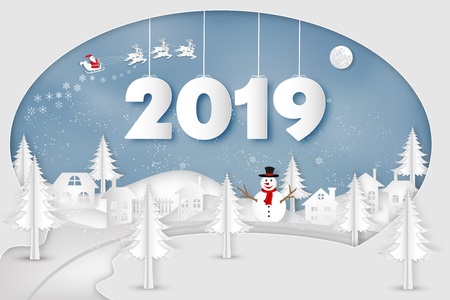 Paper art , cut and digital craft style of Santa Claus on Sleigh, Reindeer and snowman in winter season with trees , forest and snow on the blue sky as Happy New Year 2019 concept. vector illustration