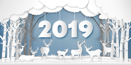 Paper art , cut and digital craft style of Reindeers or deers in forest in the snow wintry season with trees as Merry Christmas and Happy New Year 2019 concept. vector illustration