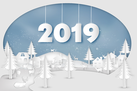 Paper art , cut and digital craft style of Reindeers or deers in village in the snow wintry season with trees as Merry Christmas and Happy New Year 2019 concept. vector illustration Ilustração