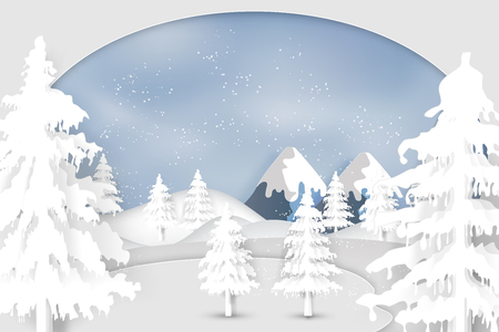 Paper art , cut and digital craft style of Snow , winter season and christmas tree as merry christmas and happy new year concept. Vector illustration. Ilustração