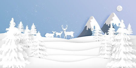 Paper art , cut and digital craft style of Deers in the pine forest in the winter season with trees and snow  as holiday and happy new year concept. vector illustration Çizim
