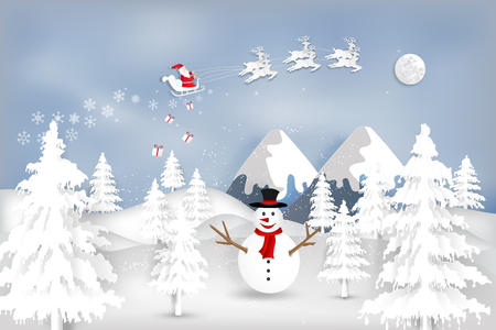Paper art, cut and digital craft style of Santa Claus on Sleigh and Reindeer with snowman in the merry christmas night and  happy new year 2019 as holiday and xmas day concept. vector illustration. Çizim