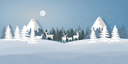 Paper art , cut and digital craft style of Deers in the pine forest in the winter season with trees and snow  as merry christmas and happy new year concept. vector illustration Çizim