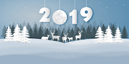 Paper art , cut and digital craft style of Reindeers or deers in village in the snow wintry season with trees as Merry Christmas and Happy New Year 2019 concept. vector illustration Stok Fotoğraf - 126623289