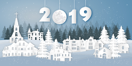 Paper art , cut and digital craft style of house village in the snow wintry season with trees as Merry Christmas and Happy New Year 2019 concept. vector illustration Ilustração