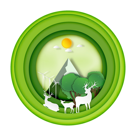 Paper art , cut and craft style of Green forest and deers wildlife in circle nature background layers as Saving the world with ecology and environment conservation concept. Vector illustration. Ilustração