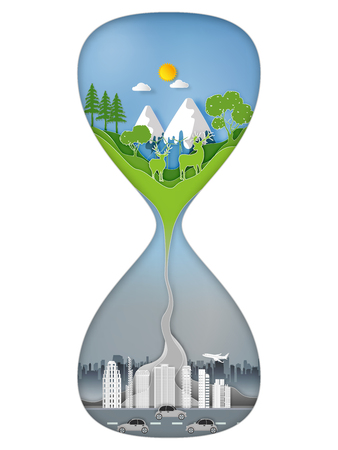 Paper art , cut and craft style Rate of environmental damage and climate change urgency as a green natural habitat sinking into a pollution and toxic enviroment in a sand hourglass concept. vector